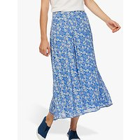 Brora Silk Chiffon Skirt, Lapis Floral
