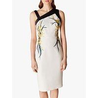 Karen Millen Floral Bodycon Dress, Cream/Multi