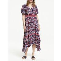 Boden Holly Hanky Hem Midi Dress, Navy/Multi