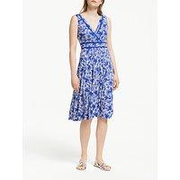 Boden Lorna Printed Jersey Dress, Lapis Bird Ottomi