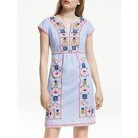 Boden Bea Linen Embroidered Dress, Blue/Multi