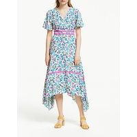 Boden Holly Hanky Hem Dress, Navy Exotic Garden