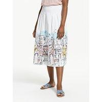 Boden Theodora Pleated Skirt, Ivory/Multi