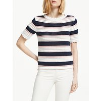 Boden Corrina Knitted Cotton T-Shirt, Ivory/Navy/Pink