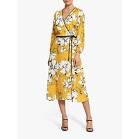 Helen McAlinden Claudia Floral Tie Waist Midi Dress, Yellow