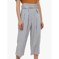 Ted Baker Colour By Numbers Delyn Stripe Wide Leg Trousers, Bright Blue