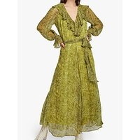 Ghost Everly Ruffle Snake Print Dress, Green