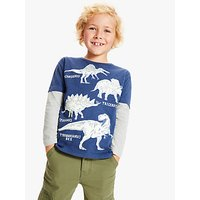 John Lewis and Partners Boys Glow In The Dark Dinosaur T-Shirt, Navy