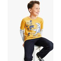 John Lewis and Partners Boys Dinosaur Fact T-Shirt, Yellow