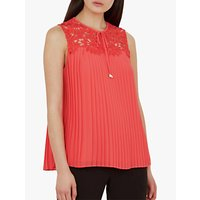 Ted Baker Sherbey Lace Pleat Blouse, Bright Red
