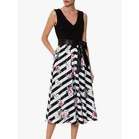 shop for Gina Bacconi Carlina Satin Dress, Black/White at Shopo