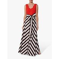 Gina Bacconi Tiegan Satin Dress, Black/Orange