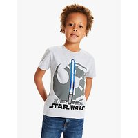 Star Wars Boys Sequin Lightsaber Print T-Shirt, Grey Marl