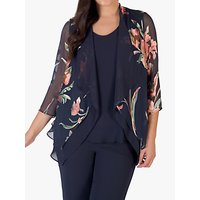chesca Pewter Floral Shrug, Grey/Multi