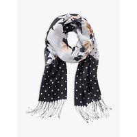 Betty & Co. Floral And Dot Print Scarf, Black/white