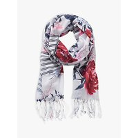 Betty & Co. Floral Print Scarf, White/blue
