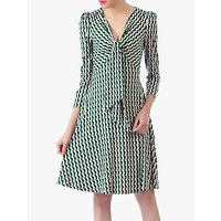 shop for Jolie Moi Tie Front Sleeved Dress, Green/Multi at Shopo