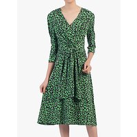 shop for Jolie Moi Wrap Front Belted Dress, Green/Multi at Shopo