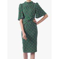 shop for Jolie Moi Geometric Print High Neck Midi Dress, Green/Multi at Shopo