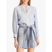 Lauren Ralph Lauren Rozzania Linen Shirt, Blue/White