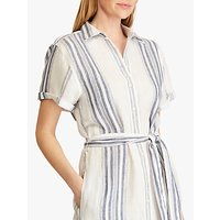 Lauren Ralph Lauren Amani Striped Linen Shirt Dress, White/Navy