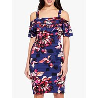 Adrianna Papell Cold Shoulder Dress, Navy/multi