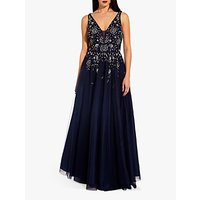 shop for Adrianna Papell Floral Embellished Gown, Navy at Shopo