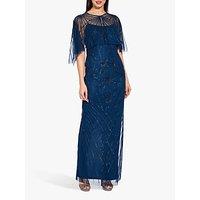 Adrianna Papell Beaded Column Maxi Dress, Deep Blue