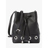 Lauren Ralph Lauren Debby Ii Drawstring Leather Bucket Bag, Black