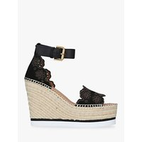 shop for See By Chloé Broderie Anglaise Wedge Sandals, Black Leather at Shopo