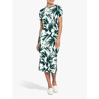 Helen McAlinden Jennifer Leaf Print Midi Dress, Green/White