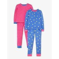 John Lewis & Partners Girls' Stripe and Spot Print Pyjamas, Pack of 2, Pink/Blue