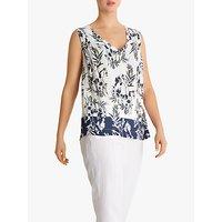 Fenn Wright Mason Petite Fern Floral Sleeveless Top, Ivory/Navy