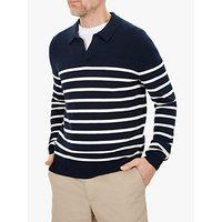 Jaeger Breton Stripe Open Collar Jumper, Dark Blue
