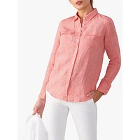 Pure Collection Linen Cotton Blend Utility Shirt, Flame Coral