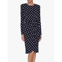 shop for Gina Bacconi Rae Spot Dress, Navy/Ivory at Shopo