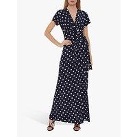 Gina Bacconi Luciana Spot Print Maxi Dress, Navy/Ivory