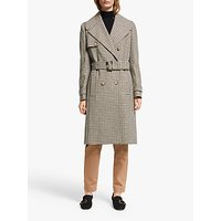 John Lewis and Partners Wool Blend Check Military Trench Coat, Neutral