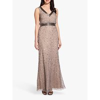 shop for Adrianna Papell Long Beaded Dress, Mercury/Nude at Shopo