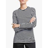 John Lewis and Partners Long Sleeve Cotton Stretch Breton T-Shirt, Black/White