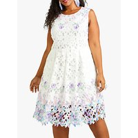 shop for Yumi Curves Flower Mirror Cut Out Lace Dress, White at Shopo