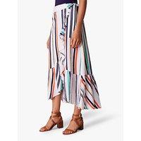 Karen Millen Striped Wrap Skirt, White/Multi