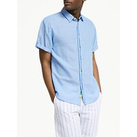 Scotch and Soda Short Sleeve Linen Cotton Shirt, Blue