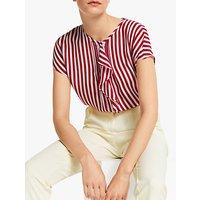 Marella Rasoio Stripe Ruffle Silk Blouse, Red/White