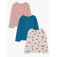 John Lewis & Partners Girls' Fox Printed T-Shirts, Pack of 3, Red