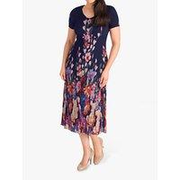 chesca Floral Border Crush Pleat Chiffon Dress, Navy/Multi