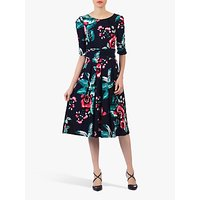 Jolie Moi Flared Floral Print Midi Dress, Navy