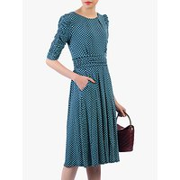 shop for Jolie Moi Flared Puff Sleeve Midi Dress, Blue Geo at Shopo