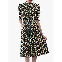 shop for Jolie Moi Geometric Print Turtleneck 3/4 Sleeve Dress, Teal/Multi at Shopo