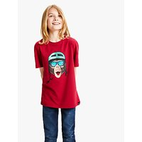 Animal Boys Chimp Print T-Shirt, Red
